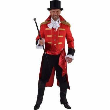 Luxe circus directeur verkleedkleding rood voor heren