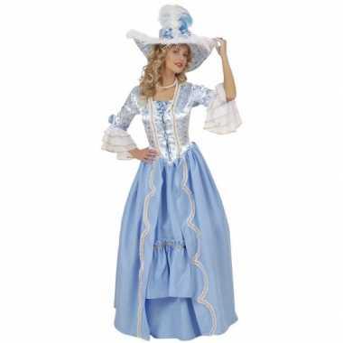 Luxe hofdame verkleedkleding blauw