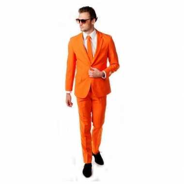 Luxe oranje verkleedkleding inclusief das
