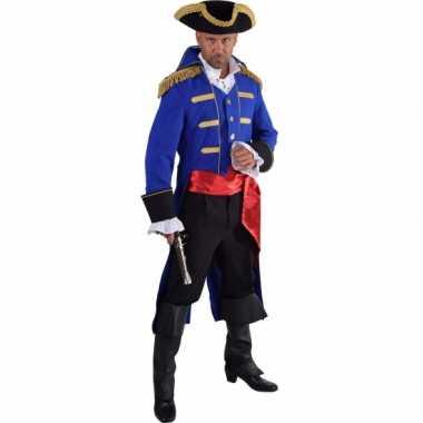 Luxe piraat verkleedkleding blauw voor heren