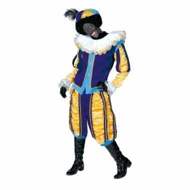 Luxe roetveeg pieten verkleedkleding geel/blauw voor dames en heren