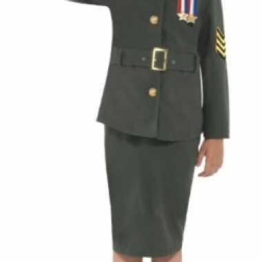 Meisjes army girl verkleedkleding groen