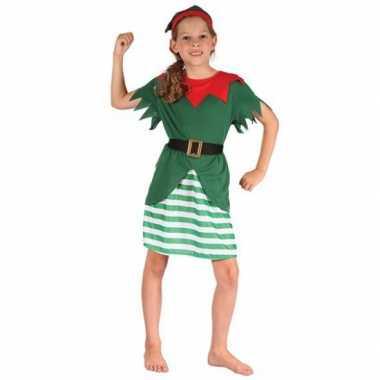 Meisjes kerstelf verkleedkleding