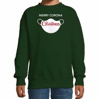 Merry corona christmas foute kerstsweater / verkleedkleding groen voor kinderen