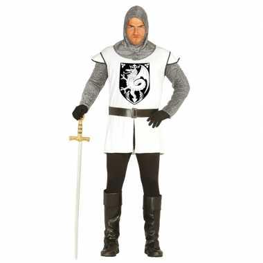 Middeleeuwse ridder verkleed verkleedkleding wit voor heren
