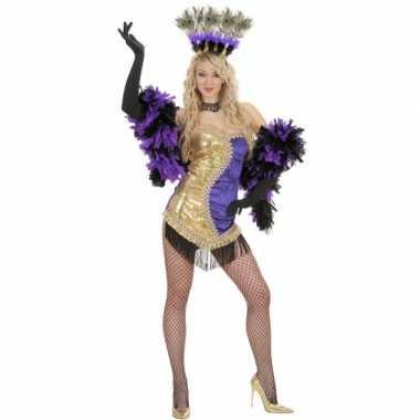 Moulin rouge verkleedkleding goud/paars