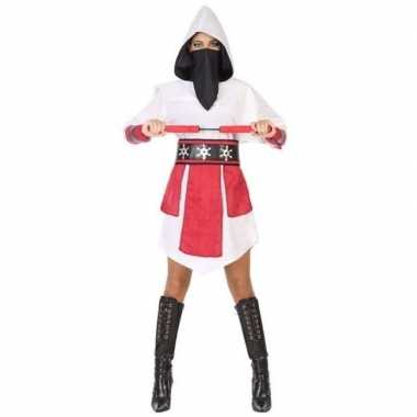 Ninja vechter verkleed jurk/verkleedkleding wit/rood voor dames