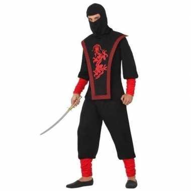 Ninja vechter verkleed verkleedkleding zwart/rood voor heren