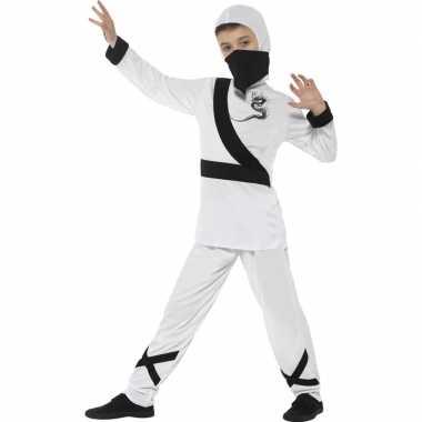 Ninja verkleedkleding wit/zwart voor kinderen