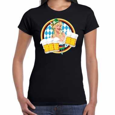 Oktoberfest / bierfeest drank fun t shirt / verkleedkleding zwart met beierse kleuren voor dames