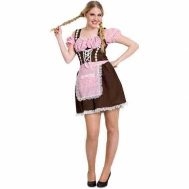 Oktoberfest bruine/roze tiroler dirndl verkleed verkleedkleding/jurkj