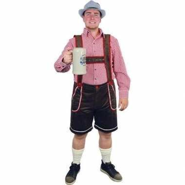 Oktoberfest bruine tiroler lederhosen verkleed verkleedkleding/broek