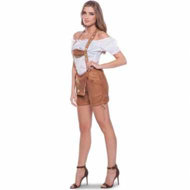 Oktoberfest bruine tiroler lederhosen verkleed verkleedkleding/broekj