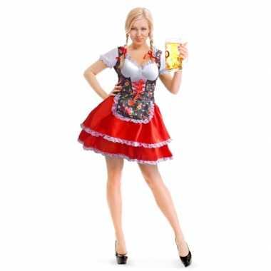 Oktoberfest rode/bloemen tiroler dirndl verkleed verkleedkleding/jurk