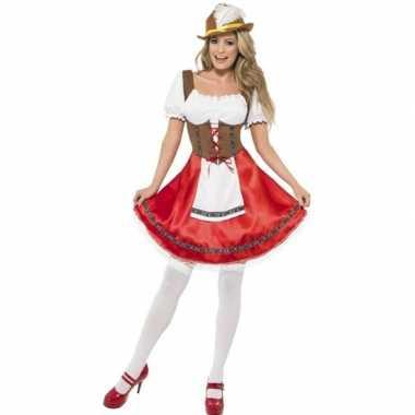 Oktoberfest rode/bruine tiroler dirndl verkleed verkleedkleding/jurkj