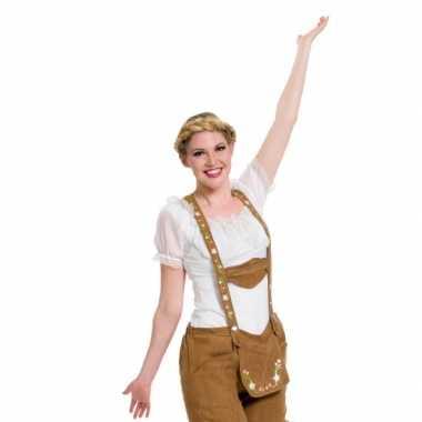 Oktoberfest witte tiroler blouse verkleed verkleedkleding/top voor da