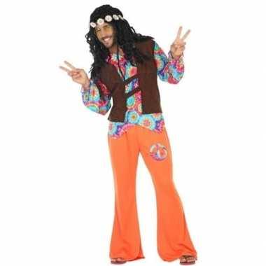 Oranje/bruin hippie/flower power verkleedkleding voor heren