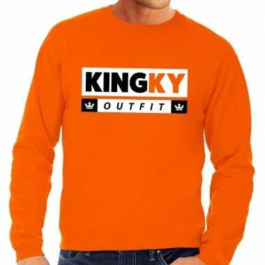 Oranje kingky verkleedkleding sweater voor heren