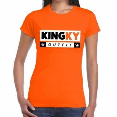 Oranje kingky verkleedkleding t shirt voor dames
