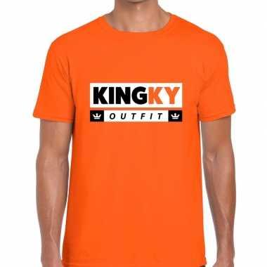 Oranje kingky verkleedkleding t shirt voor heren