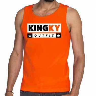 Oranje kingky verkleedkleding tanktop / mouwloos shirt voor he