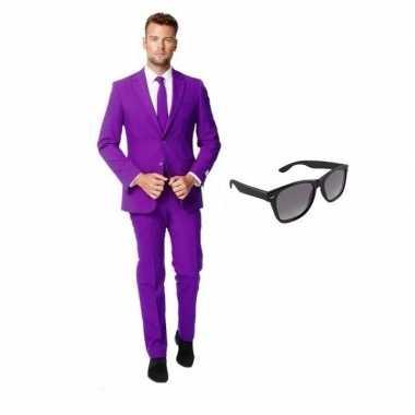 Paars heren verkleedkleding maat 50 (l) met gratis zonnebril