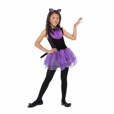 Paars/zwarte kat/poes verkleedkleding voor meiden