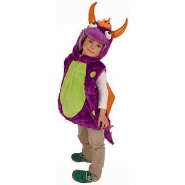 Paarse drakenverkleedkleding voor kinderen