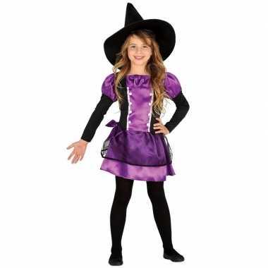 Paarse heks verkleedkleding bow witch voor kinderen