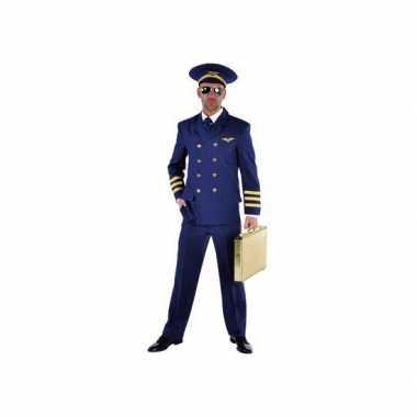 Piloten verkleedkleding heren blauw