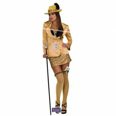 Pimp verkleedkleding goud voor dames