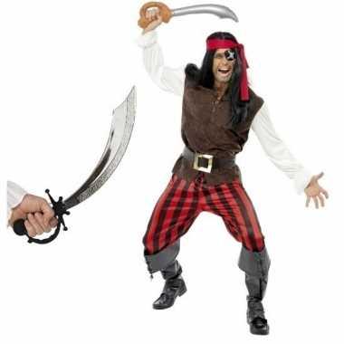Piraten verkleedkleding met zwaard maat m voor volwassenen