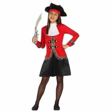 Piraten verkleedkleding rood/zwarte jurk voor meisjes