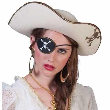 Piratenverkleedkleding accessoires witte piratenhoed met schedel
