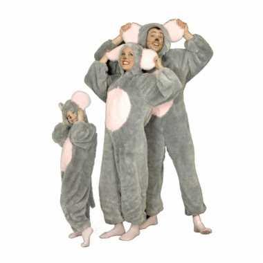 Pluche grijze muis verkleedkleding