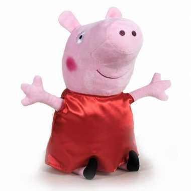 Pluche peppa pig/big knuffel in rode verkleedkleding 31 cm speelgoed