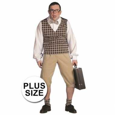 Plus size nerd verkleedkleding heren