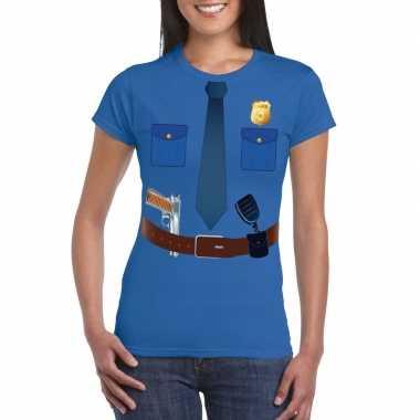 Politie uniform verkleedkleding t shirt blauw voor dames