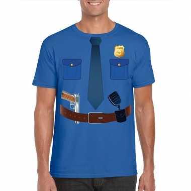 Politie uniform verkleedkleding t shirt blauw voor heren