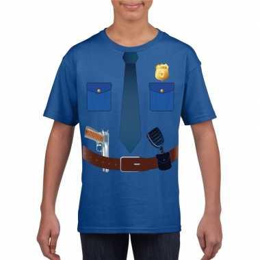 Politie uniform verkleedkleding t shirt blauw voor kinderen