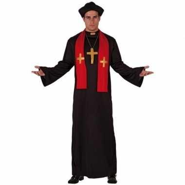 Priester verkleedkleding zwart met rood