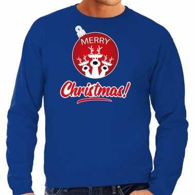 Rendier kerstbal sweater / kerst verkleedkleding merry christmas blauw voor heren
