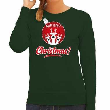 Rendier kerstbal sweater / kerst verkleedkleding merry christmas groen voor dames