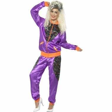 Retro trainingspak verkleedkleding paars