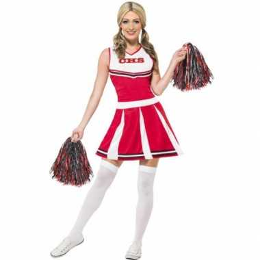 Rode cheerleader verkleedkleding dames