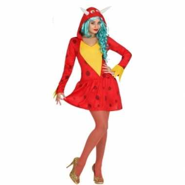 Rode draak verkleedkleding voor dames