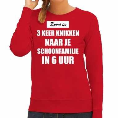 Rode foute kersttrui / sweater kerst is 3 keer knikken naar schoonfamilie verkleedkleding dames