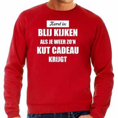 Rode foute kersttrui / sweater kerst is blij kijken / kut cadeau verkleedkleding heren
