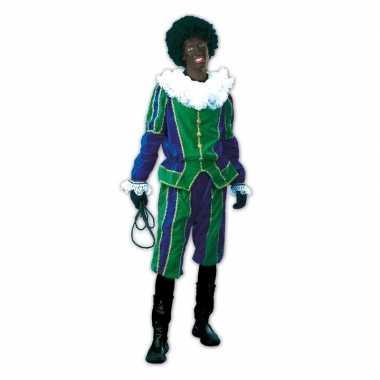 Roetveeg pieten verkleedkleding groen/blauw voor dames en heren