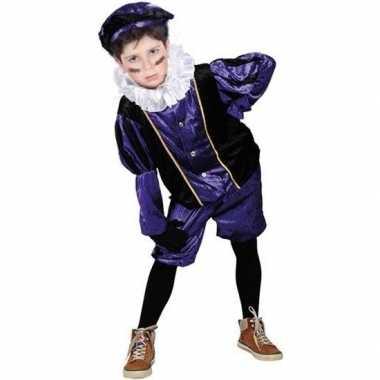 Roetveeg pieten verkleedkleding paars/zwart voor kinderen